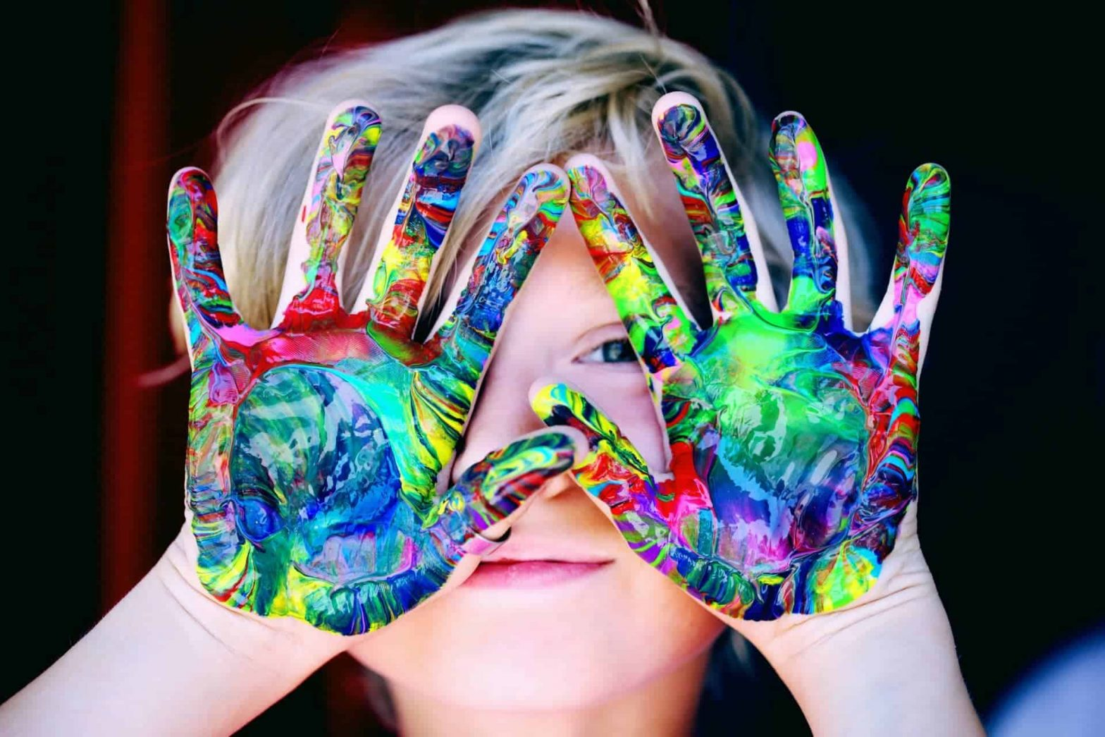 painted child's hands